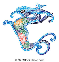 Dragon- Chinese zodiac - Blue Dragon illustration- Chinese...