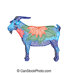Goat illustration- Chinese zodiac - Blue Goat illustration-...