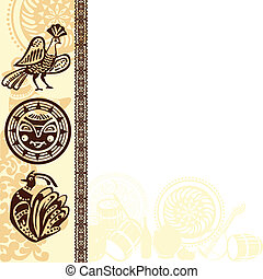 picture frame with ethnic - background with ethnic Slavic...