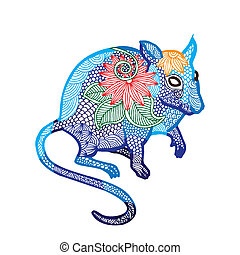 Rat illustration- Chinese zodiac - Blue Rat illustration-...