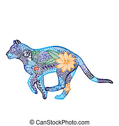 Tiger illustration- Chinese zodiac - Blue Tiger...