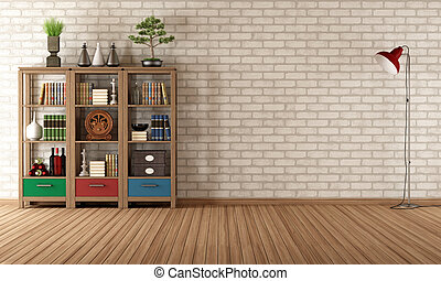 Vintage bookcase in a empty room - Empty living room with...