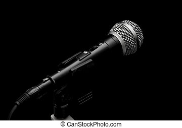 Microphone - Closeup of a dynamic microphone isolated on...