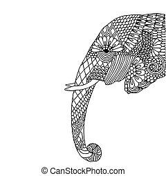 Elephant head - Stylized fantasy patterned elephant. Hand...