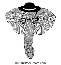 Embroidery elephant with glasses and hat