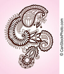 Abstract Henna Mendy Flower - Hand Drawn Abstract Henna...