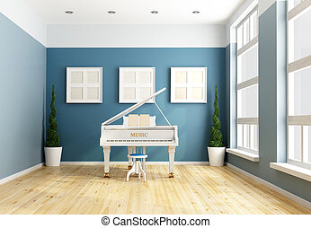 Blue chamber music  with a white grand piano -rendering