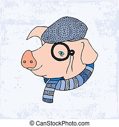 Pig with monocle, hat and scarf