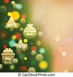 Christmas Offer on Bokeh Effect Background - illustration of...