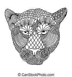 Tiger head stylized  on simple white background