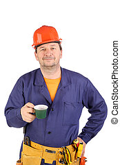 Working man with cup of coffee.