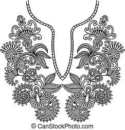 Neckline embroidery fashion. Ukrainian traditional pattern