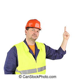 Worker in hard hat with hand up.
