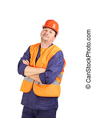 Man in workwear and hard hat portrait