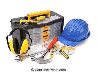 Conjunto, herramientas, instrumentos, caja de herramientas