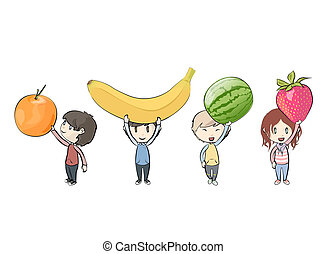 Kids holding fruits Vector design