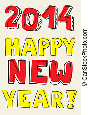 Happy New Year 2014 vector wish