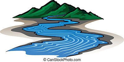 Mountains and River - Illustration of a graphic style...