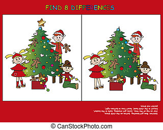 christmas game: find the eight differences