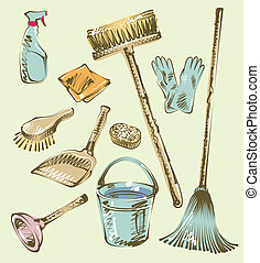 Cleaning service sketch design elements