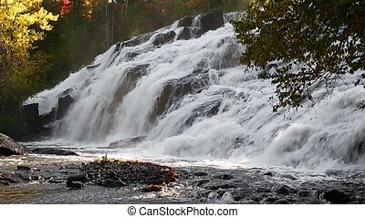 Bond Falls Autumn Morning Loop - Whitewater cascades over...
