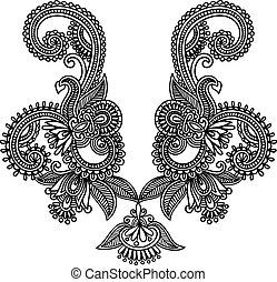 Neckline embroidery fashion. Ukrainian traditional style
