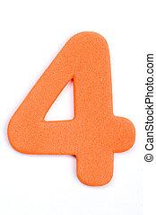 Foam Digit Four - The digit four in foam material.
