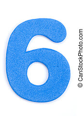 Foam Digit Six - The digit six in foam material
