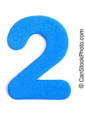 Foam Digit Two - The digit two in foam material.