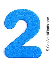 Foam Digit Two - The digit two in foam material.