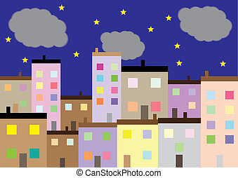 A Colourful Housing Estate at Night