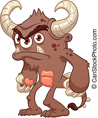 Grumpy brown monster. Vector clip art illustration with...