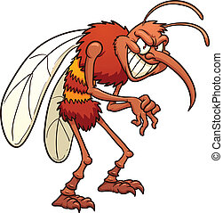 Cartoon mosquito - Evil cartoon mosquito. Vector clip art...