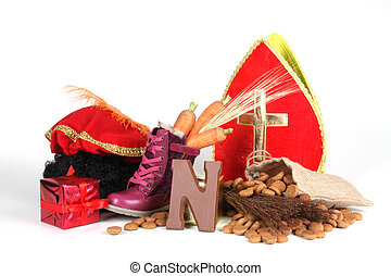 Putting shoes for Sinterklaas eve - Celebrants of the...