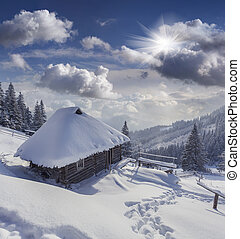 Foresters hut covered with snow in the mountains