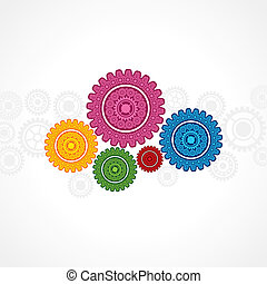 colorful gear on white background