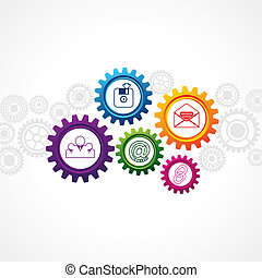 Web icons in cog wheel - illustration of web icons in cog...