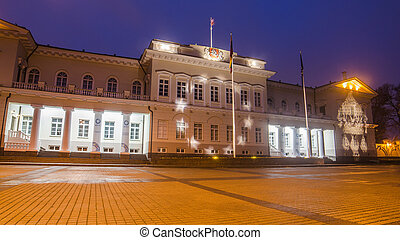 Presidential Palace in Vilnius, Lithuania after rain in the...