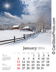 2013 Calendar February - 2014 Calendar January Beautiful...