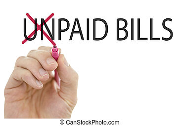 Changing phrase Unpaid bills into Paid bills by crossing off...