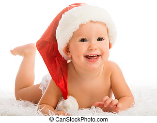 Beautiful funny baby in a Christmas hat isolated on white...