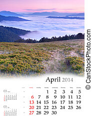 2014 Calendar. April. Foggy morning in the mountains.