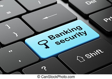 Security concept: Key and Banking Security on computer keyboard