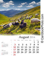 2014 Calendar. August. Beautiful summer landscape in the...
