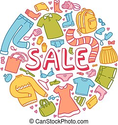 Sale illustration with clothes and other things