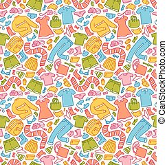Clothes seamless pattern in color