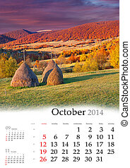 2014 Calendar. October. Colorful autumn landscape in...
