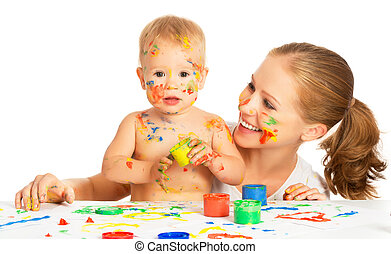 mother and baby paint colors hands dirty isolated on white -...