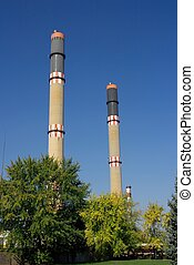 Idustry - High chimneys of an industrial facility