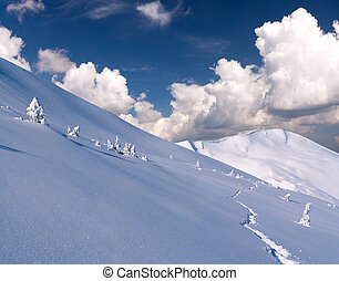 Trail in deep snow in winter mountains